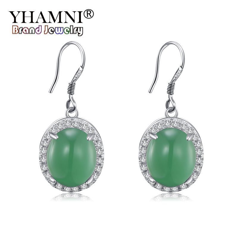 YHAMNI Original Natural Green Malay Stone Earrings 100% 925 Sterling Silver Earring CZ Zircon Jewelry Gift For Women ZE454