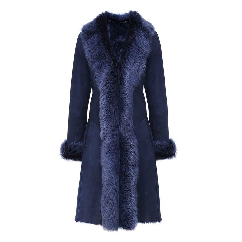 Young17 Winter Coat Women 2017 Formal Dark Blue Patchwork Long Sleeve V-Neck Fall Warm Coats Autumn Winter Mid-Length Coat