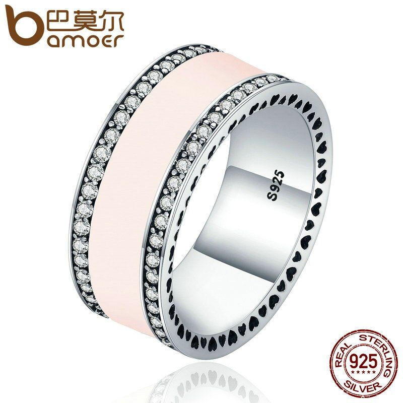 BAMOER 925 Sterling Silver Radiant Hearts & Light Pink Enamel Clear CZ Wide Band Ring for Women Wedding Jewelry Gift PA7624