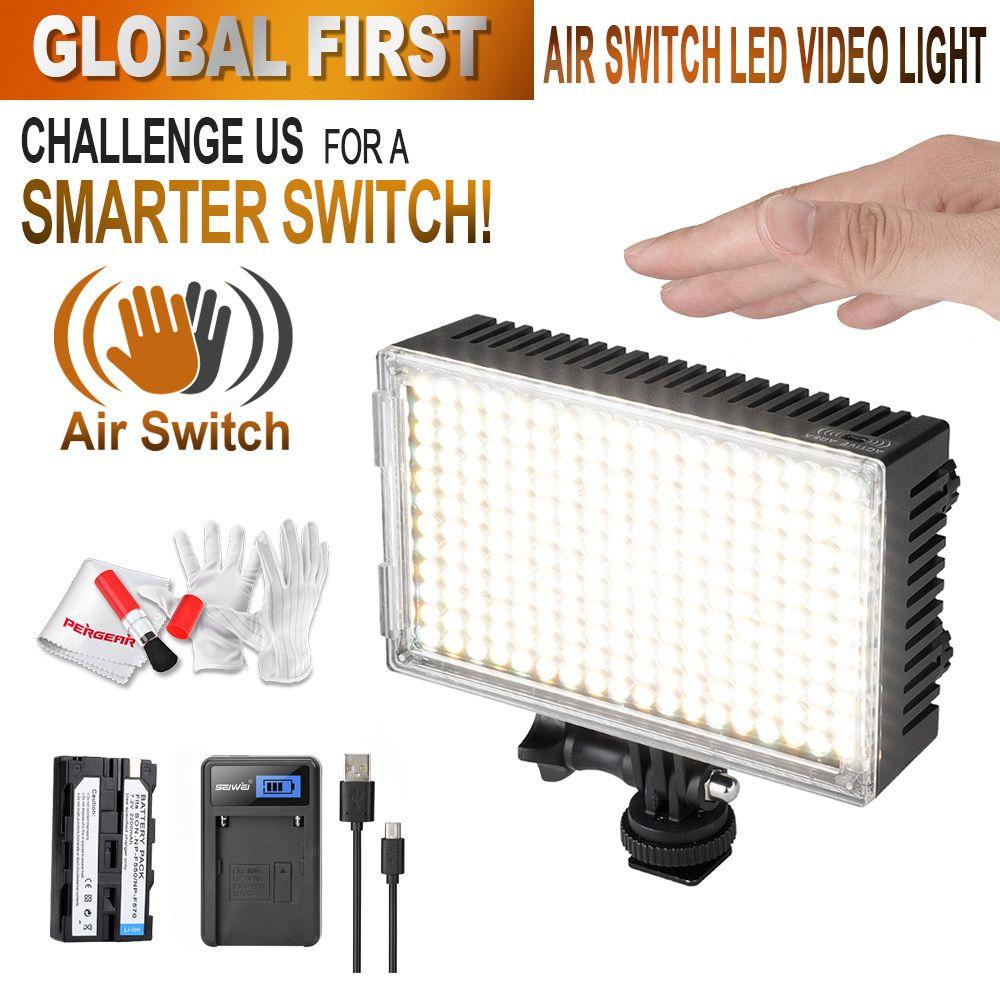 Pergear 216 LED видео воздушный выключатель Сенсор свет на Камера фото свет затемнения 3200 К-5500 К Luz LED DSLR + Батарея + Зарядное устройство