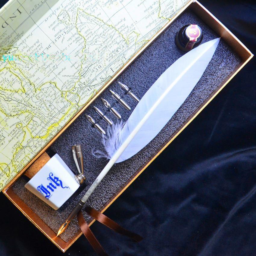 Plume de dinde européenne plume Vintage Quill Dip cadeau stylo avec 1Pen titulaire 1ink 5 plumes