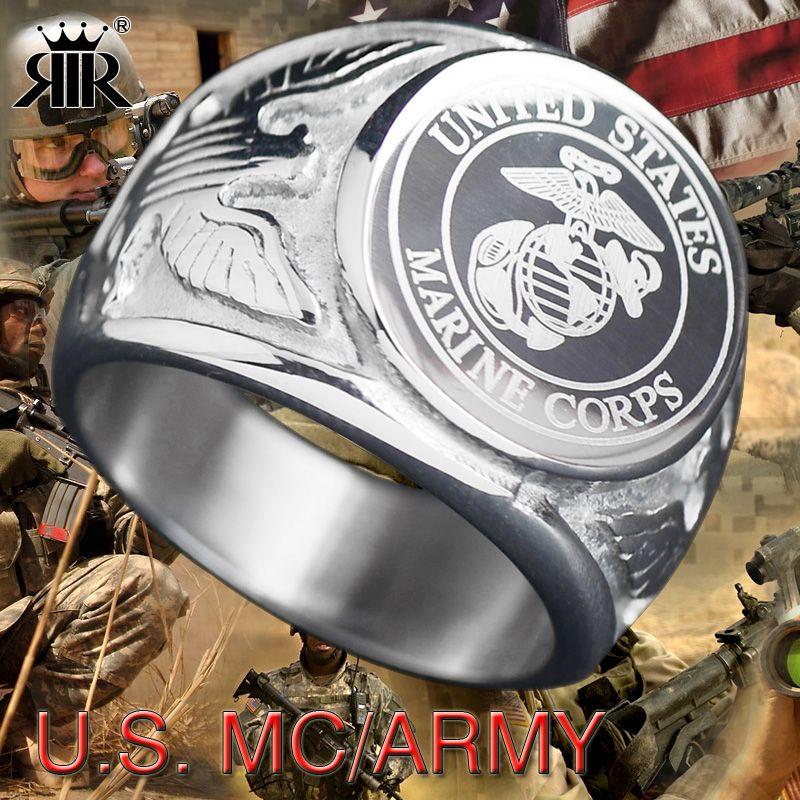 Rir playerunknown's боя США Военная Униформа кольцо морской пехоты США армии США Для мужчин Кольца модные Нержавеющаясталь ювелирные изделия