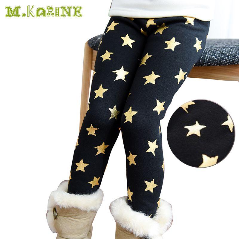 Новое поступление Детские зимние штаны Брюки для девочек теплые звезды печати флис Леггинсы для маленьких девочек Bronzing тощий эластичный по...