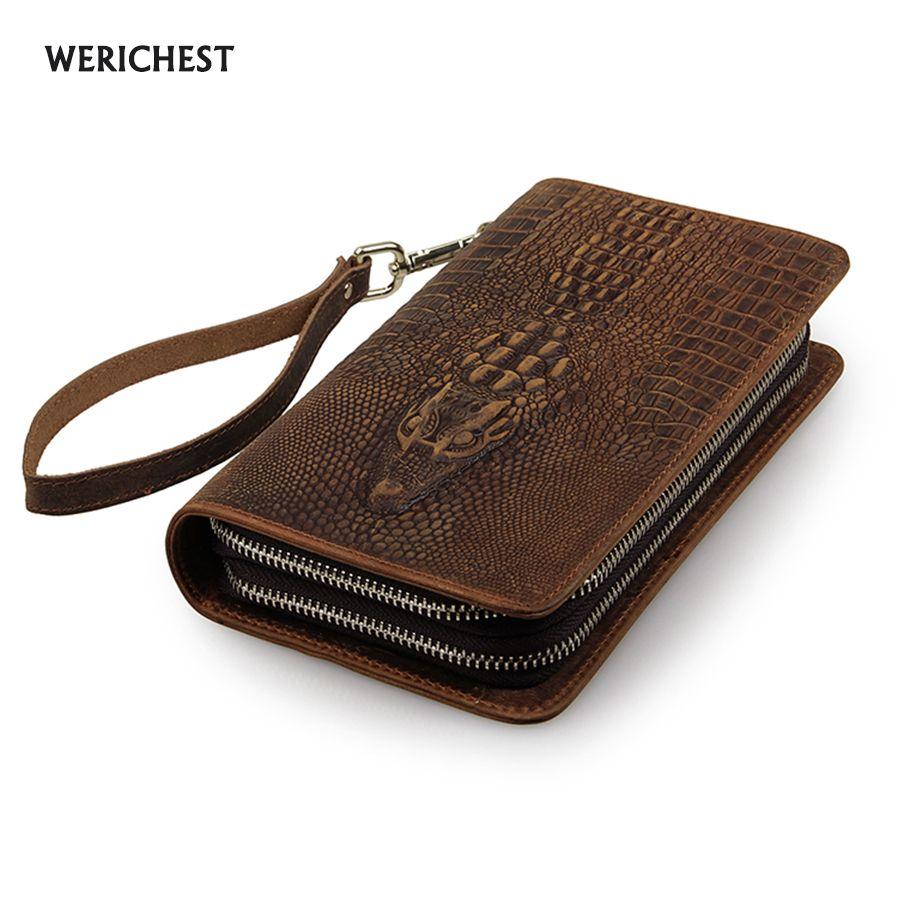 Hommes célèbre marque en cuir véritable double fermeture à glissière portefeuille d'embrayage mâle crocodile modèle sacs à main dame multi-fonction téléphone sac sac à main