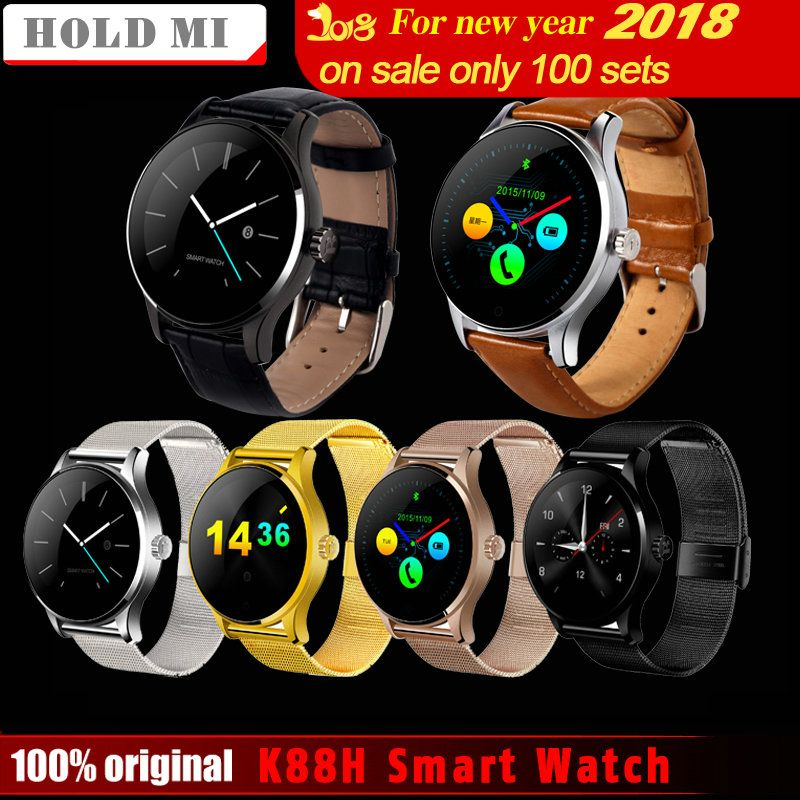 Hold Mi K88H Smart Watch 1.22 <font><b>Inch</b></font> IPS Round Screen Support Sport Heart Rate Monitor Bluetooth SmartWatch For IOS Android