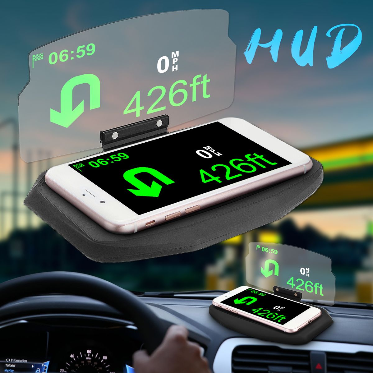 Car Windscreen Projector HUD Head Up Display Universal Mobile Phone Holder <font><b>Multifunction</b></font> 6.5 Inch For iPhone For Samsung GPS