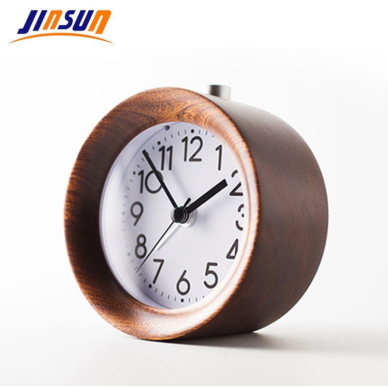 JINSUN horloge en bois Snooze chevet enfants réveil aiguille circulaire rétro-éclairage horloge de bureau silencieux bois pas de tic-tac despertador