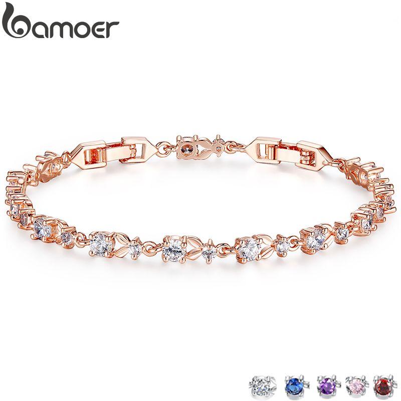 BAMOER 6 Farben Luxus Rose Gold Farbe Kette Link Armband für Frauen Damen Glänzende AAA Cubic Zirkon Kristall Schmuck JIB013