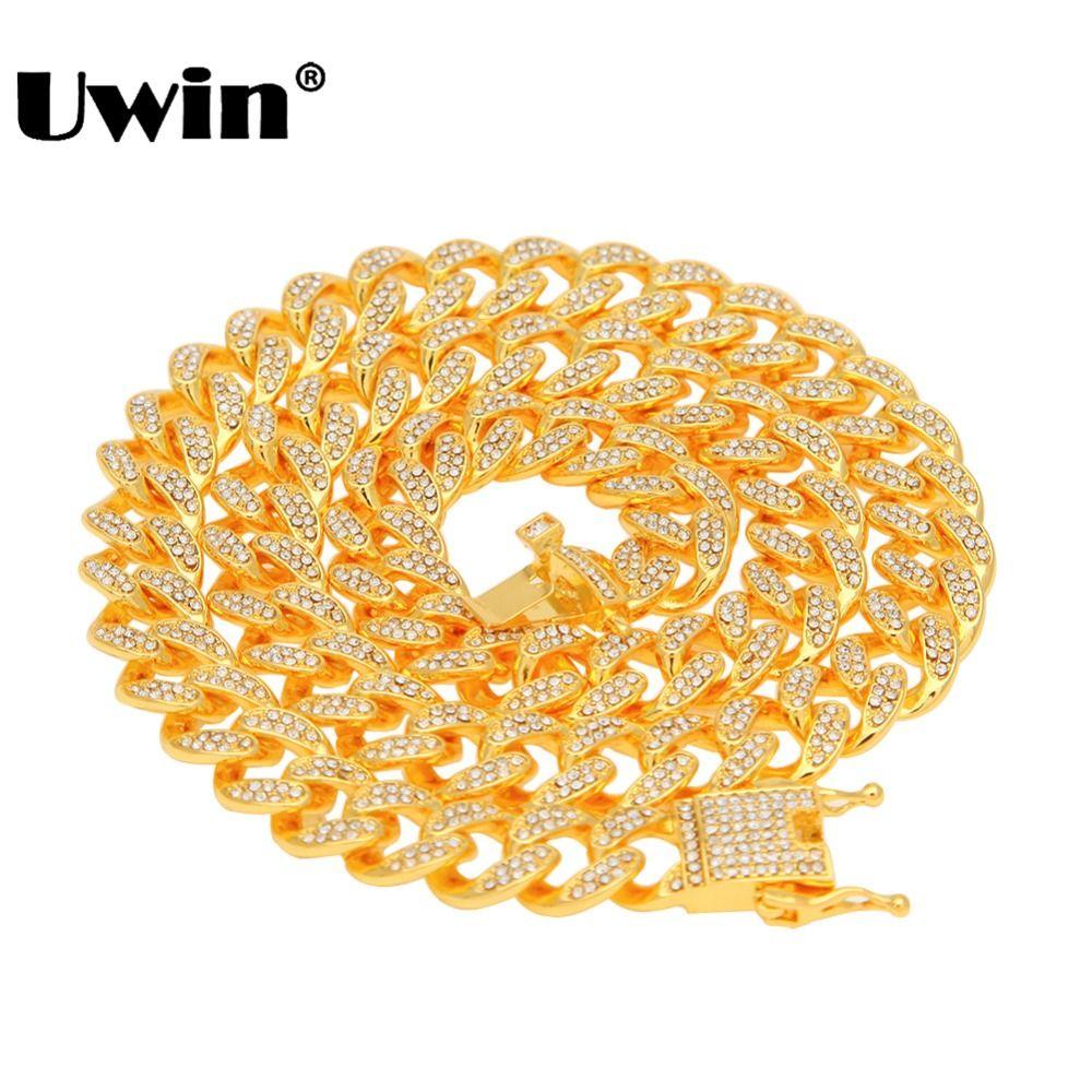 Uwin Miami chaîne à maillons cubains collier 13mm plein Bling Bling glacé strass argent or couleur bijoux de mode collier