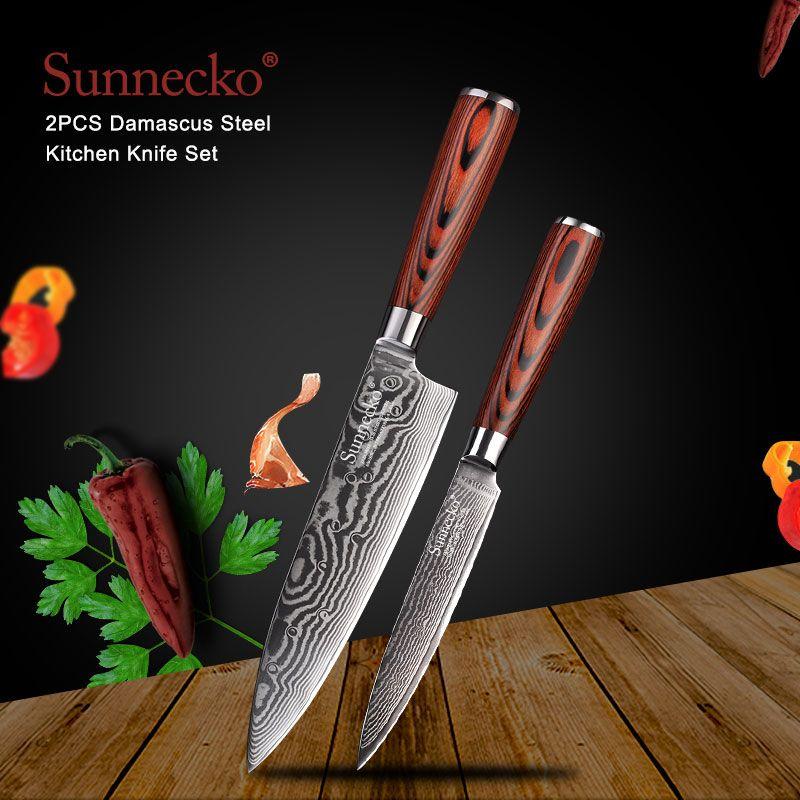 SUNNECKO 2 PCS Küche Messer Set Chef Utility Messer Japanischen VG10 Damaskus Stahl Sharp Starken Pakka Holz Griff Schneiden Werkzeuge