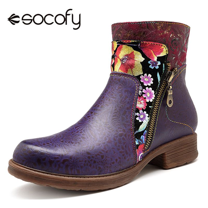 Socofy Retro Genuine Leather Novelty Western Cowboy Women Boots Vintage Printed Bohemian Zipper Casual Ankle Boots Women Shoes