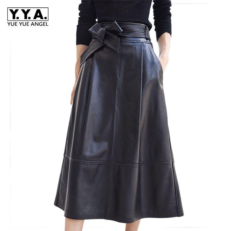 2018 neue Mode Frauen Röcke Weiblichen Echtem Leder Schaffell Saia Falda Bogen Mit Gürtel Knielangen Rock Büro Dame Plus größe