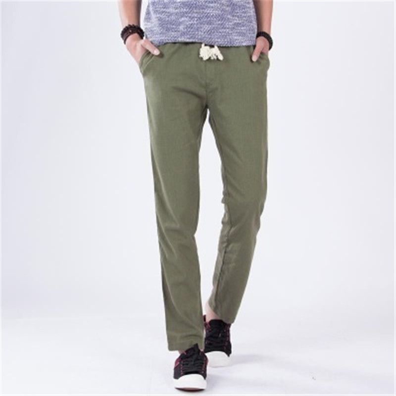 2018 spring and summer men's trousers cotton and linen pants light and loose linen pants casual trousers men  WSX15