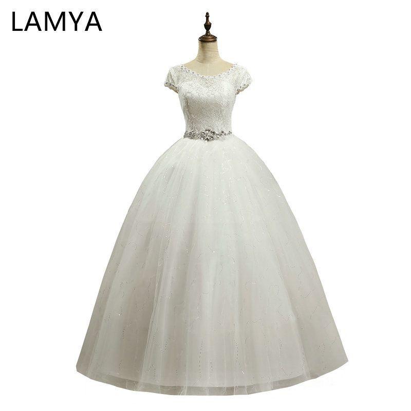 LAMYA Elegant Cheap Lace Wedding Dress 2018 Fashion Short Bride Gowns <font><b>Crystal</b></font> Bridal Dresses Plus Size vestido de noiva
