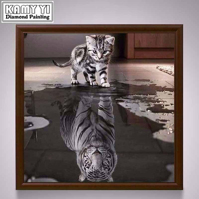 New Handicrafts Cat Reflection Tiger 5D Diy Diamond Painting Cross Stitch Animal Diamond embroidery Mosaic European Home Decor