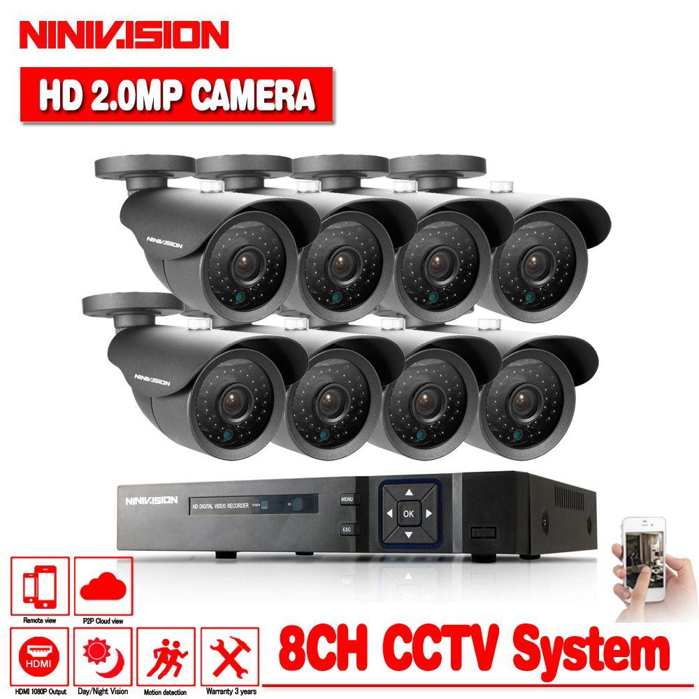 HD 8CH 1080P CCTV Security System 8PCS 3000TVL IR Outdoor AHD 1080N Video Surveillance 2.0MP Security Cameras 8 channel DVR Kit