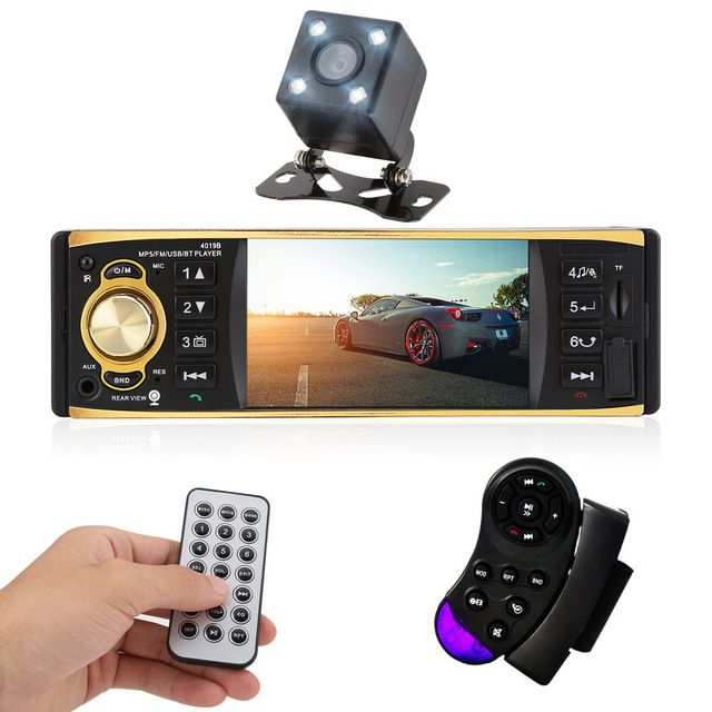 4.1 inch 1 Din Car Radio Audio Stereo MP3/MP4/MP5 /USB /AUX /FM Radio Station Bluetooth with Rearview Camera Remote Control
