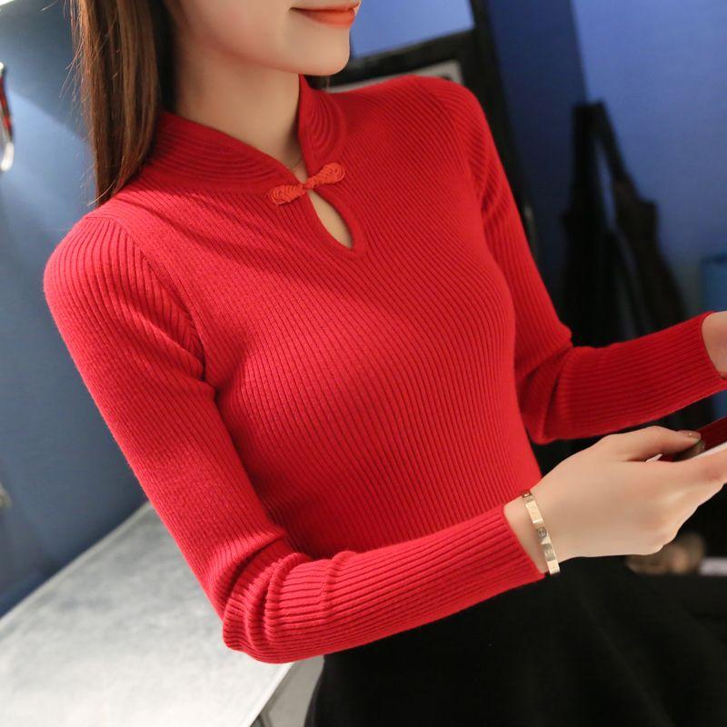 Nouveau 2017 Hiver Mode Femmes pulls Élégante Cheongsam col pull pull femmes mince Tricoté pull Femme Surdimensionné