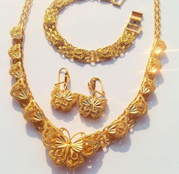 Noble 24 k real de oro Fino GF mariposa collar colgante pendiente de la pulsera fija Incondicional Garantía de Reemplazo de Por Vida
