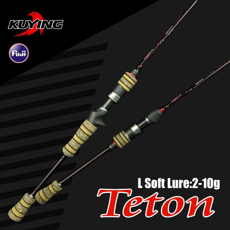 KUYING Teton L 1.98 m 6'6'' Baitcasting Coulée Spinning Canne À Pêche Au Leurre Souple Pôle Canne Lumière En Fiber De Carbone Moyen Rapide d'action