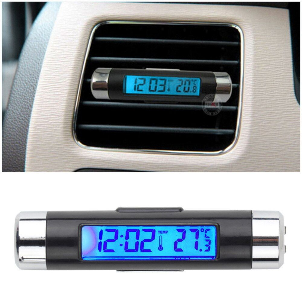 Новые творческие 2in1 автомобильный цифровой ЖК-дисплей Температура термометр часы Календари автомобильной синий Подсветка часы с зажимом