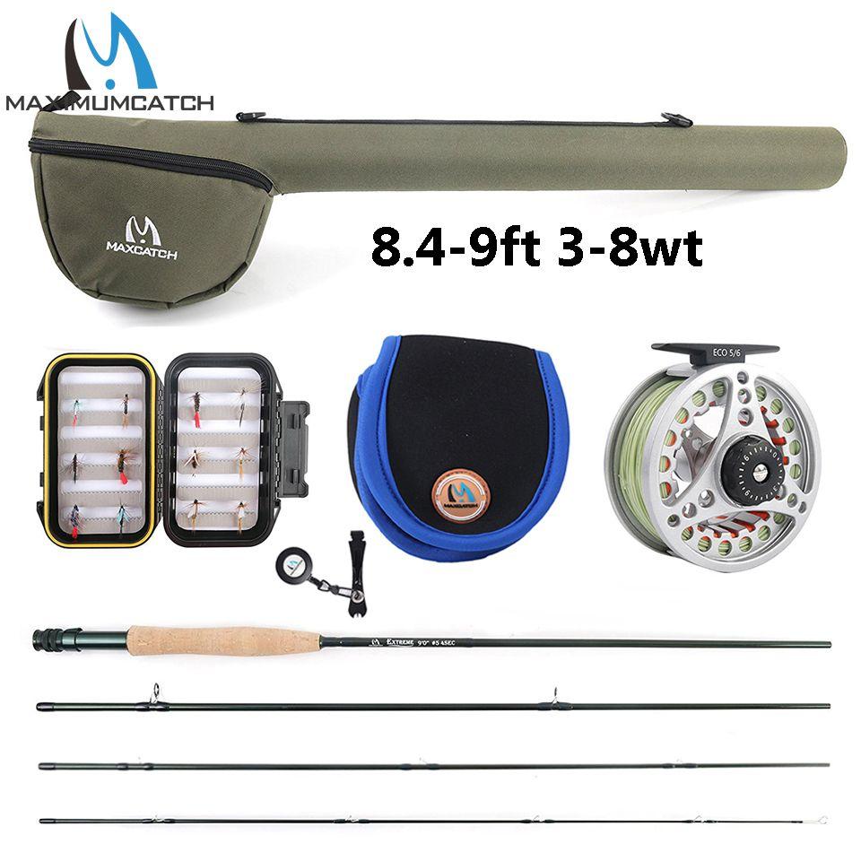 Maximumcatch Extreme 8/9FT 3-8WT tige de mouche en Fiber de carbone à vitesse moyenne avec bobine en Graphite et ligne de mouche et Tube Triangle