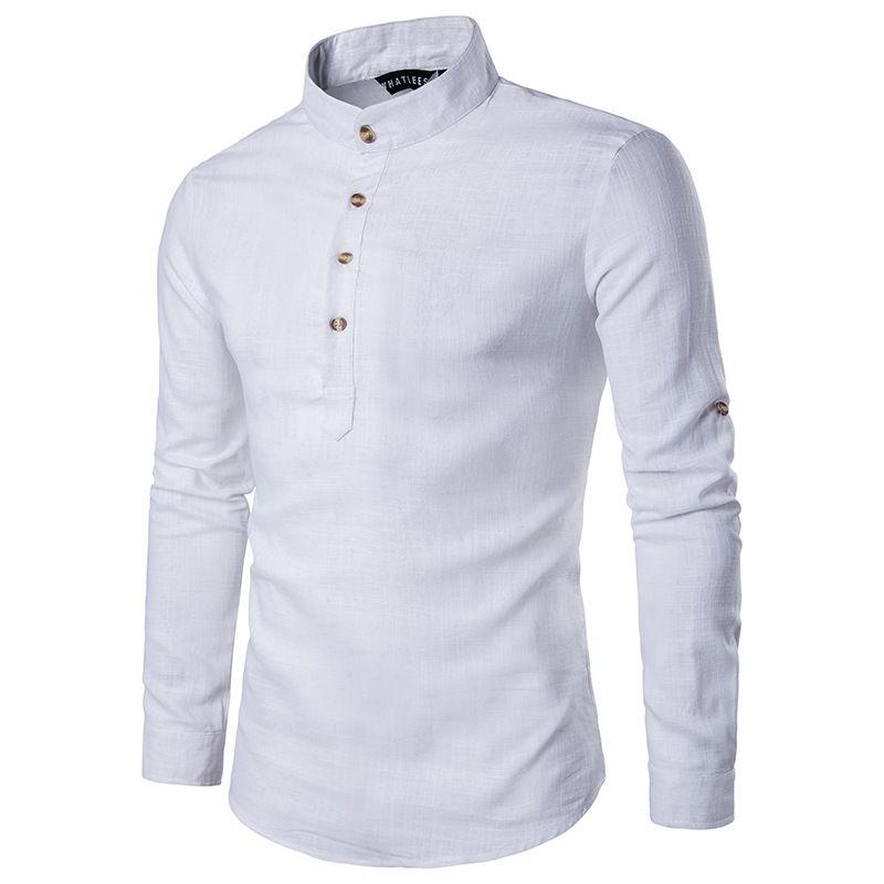 Stylish Linen Shirts Men/Boy 2017 Spring New Long Sleeve Mens Shirts Chemise <font><b>Homme</b></font> Stand Collar Slim Fit Social Camisa Masculina