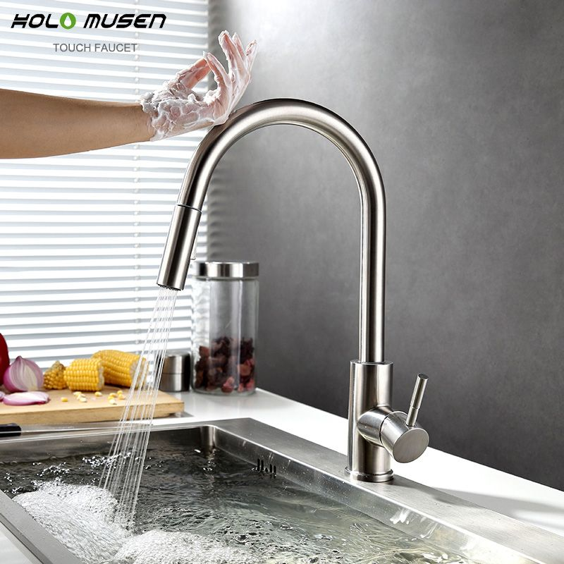 New Lead-Free SUS304 Stainless Steel Pull Out Touch Faucet Kitchen Sensitive Touch Control Faucet Mixer Touch Sensor Kitchen Tap