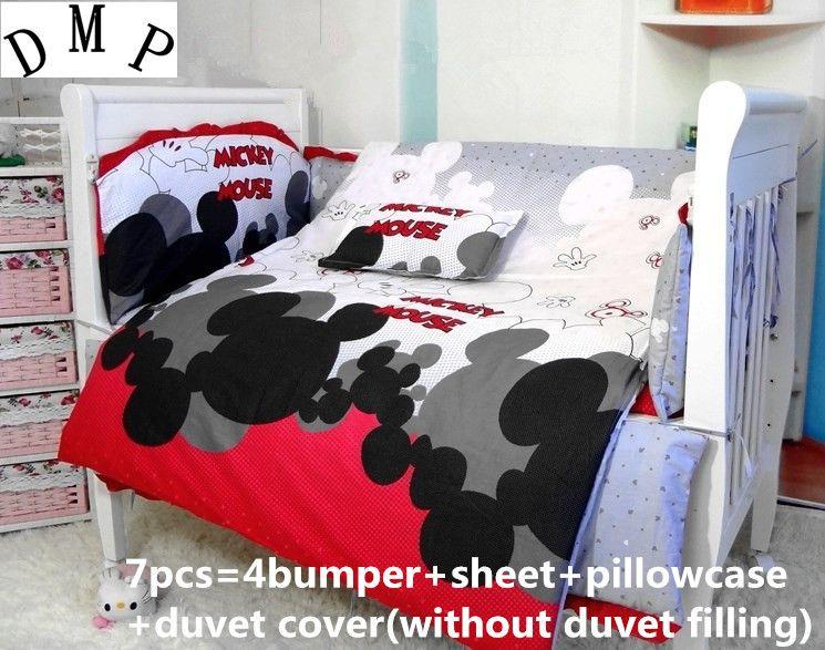 Promotion! 7PCS Cartoon Baby cot bed linen crib bumper bed, baby crib bedding set (bumper+sheet+pillow cover+duvet cover))
