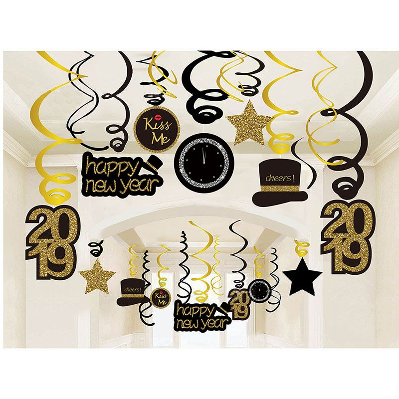 30 stücke Frohes Neues Jahr Decke Hängen Swirl 2019 Neue Jahr Eve Party Weihnachten Dekorationen für Home Spirale Banner Navidad anhänger
