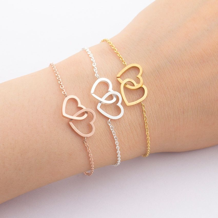 Freundschaft Armbänder Gold Silber Doppel-Herz