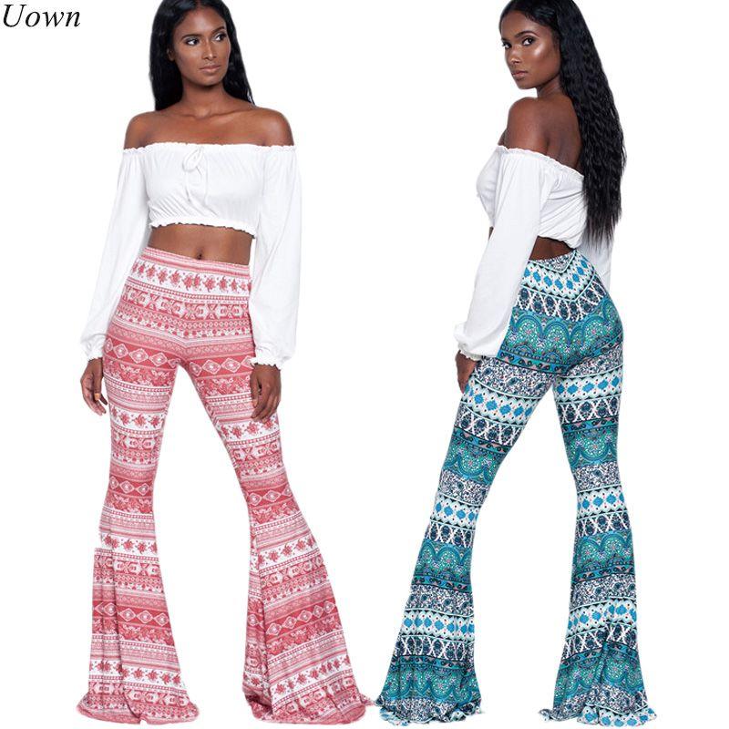 2017 Ladies Boho Trousers Fitness Clothing Women's Long Pants Casual Pattern Print Wide leg <font><b>Bell</b></font> Bottom Legging Soft Flare Pants