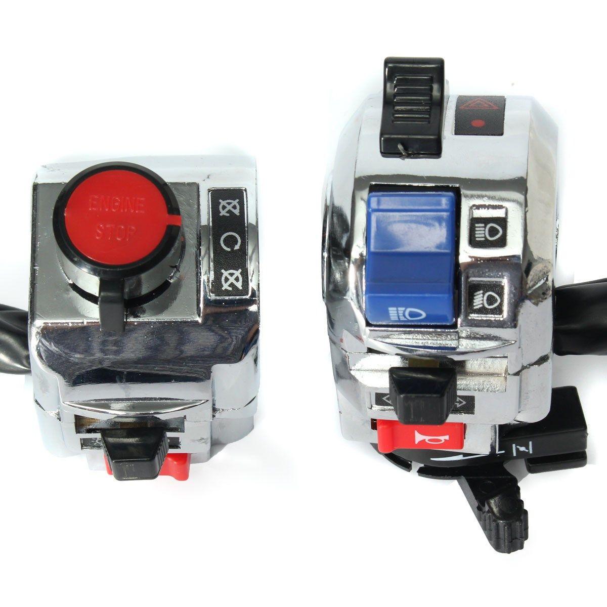 1 Pair Aluminum Motorcycle 7/8 Inch Handlebar Control Horn Turn Signal Light Start Switch For Honda