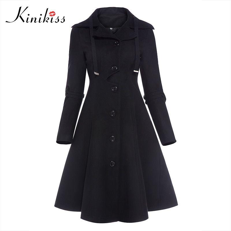 Kinikiss Fashion Long Medieval Trench Coat Women Winter Black Stand Collar Gothic Coat Elegant Women Coat Vintage Female 2018