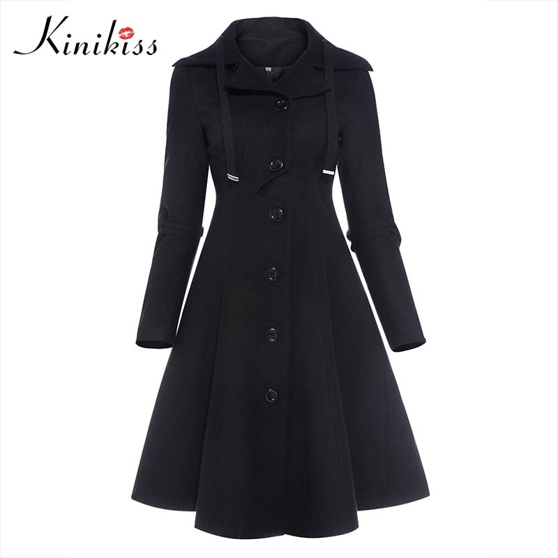 Kinikiss Fashion Long Medieval Trench Coat Women Winter Black Stand Collar Gothic Coat Elegant Women Coat Vintage Female 2018