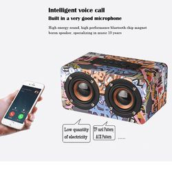 wood Portable Bluetooth sound speaker stereo super bass high fidelity HiFi Computer phone MP3 MP4 double speaker TF card play