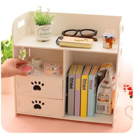 DIY Büro Schreibtisch Sets Schrank Organizer Weiß Holz Lagerung Box Buch Magazin Racks Für Büro