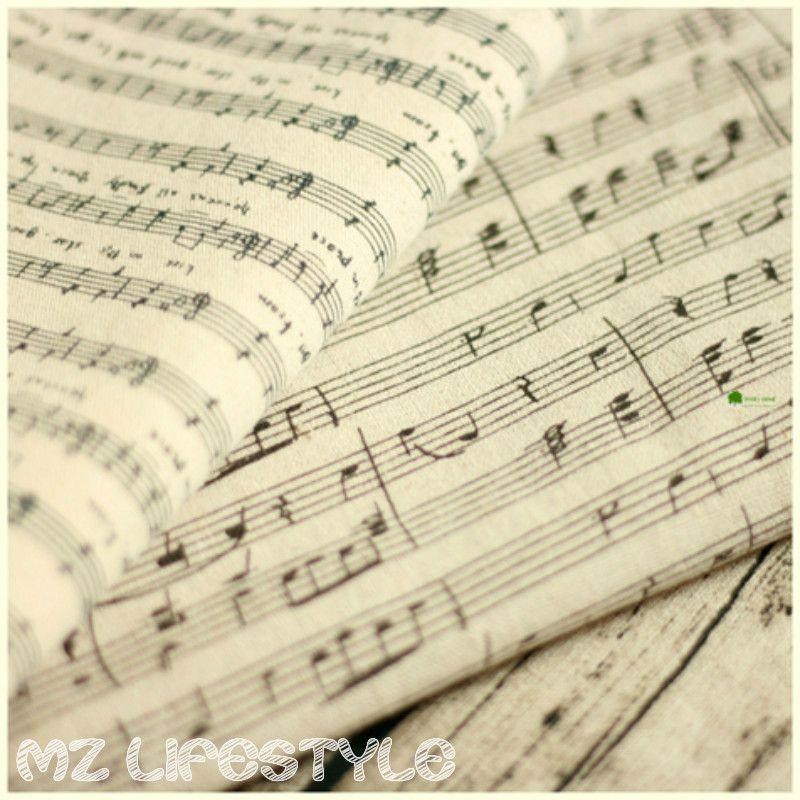 Buulqo 100*155 см хлопок белье смесь ткань ретро обивка печатных Пианино музыка льняной ткани DIY Home Decor хлопчатобумажная ткань