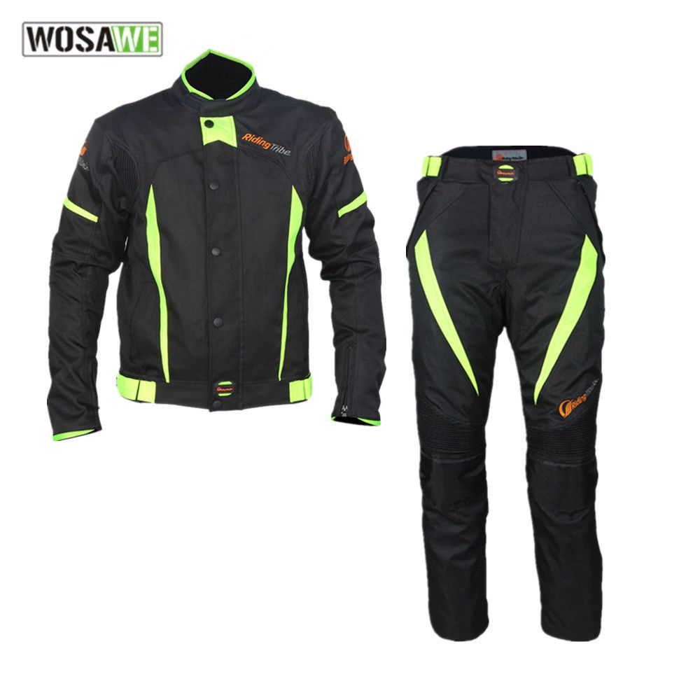 RIDING TRIBE male Motorcycle Clothing Set Waterproof Riding motocross Jacket Pants Suit combinations knee Protector moto clothes
