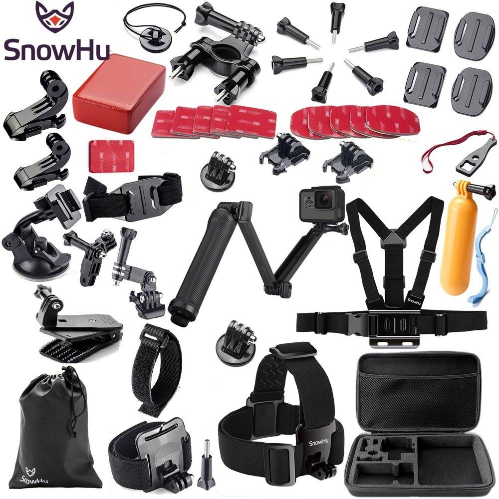 SnowHu pour Gopro accessoires set pour go pro hero 7 6 5 4 3 kit 3 voies selfie bâton pour Eken h8r/pour xiaomi pour yi 4K EVA GS02