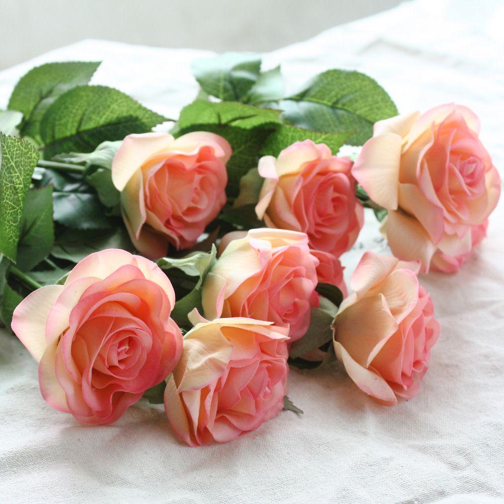 12 pcs/lot fleurs artificielles soie vraie touche Rose fleurs mariage Bouquet maison fête faux fleurs décor Rose fête fournitures