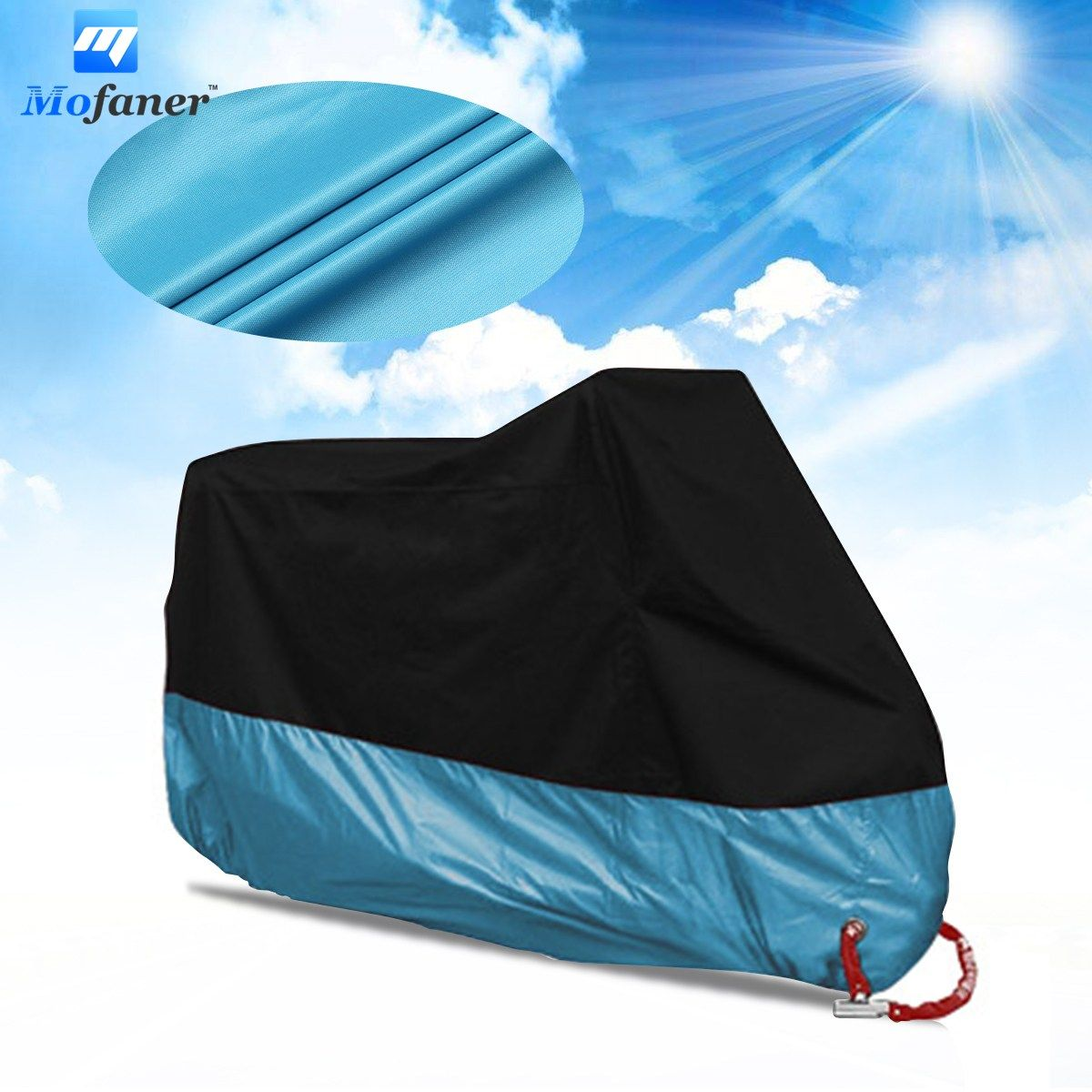 Mofaner 190T Universal Motorcycle Cover UV Protector Waterproof Rain Dustproof Anti-theft Motor Scooter Covers With Lock Holes