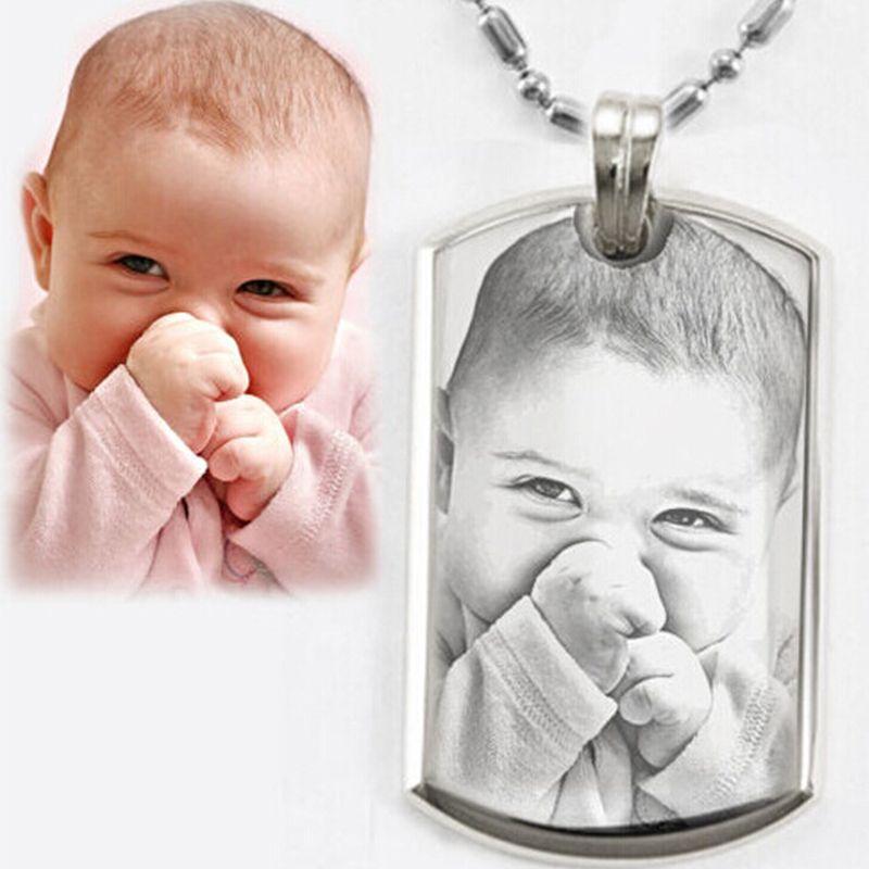 Images personnalisées Image pendentif collier en acier inoxydable graver vos Photos ID Tag collier Choker pour femmes hommes livraison directe