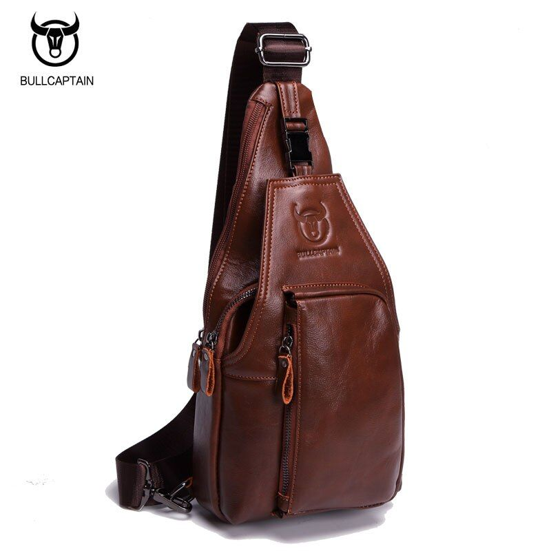 BULL CAPTAIN Vintage FAMOUS Brand Chest Bag Pack Messenger Bag Male Shoulder Bags Cow Leather Crossbody Bag Multifunction Brown