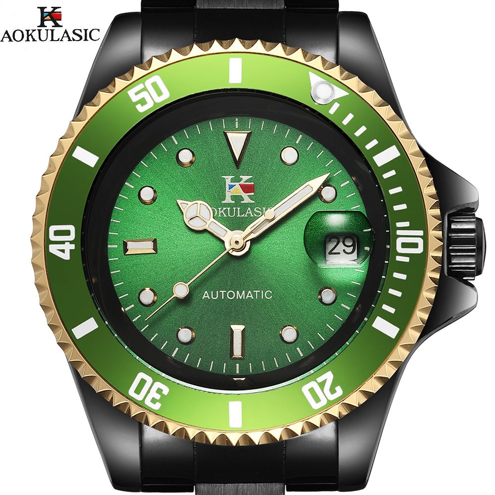 AOKULASIC Men Wristwatches Auto Date Top Brand Luxury Sport Automatic Mechanical Watch Army Military Watches Relogio Masculino