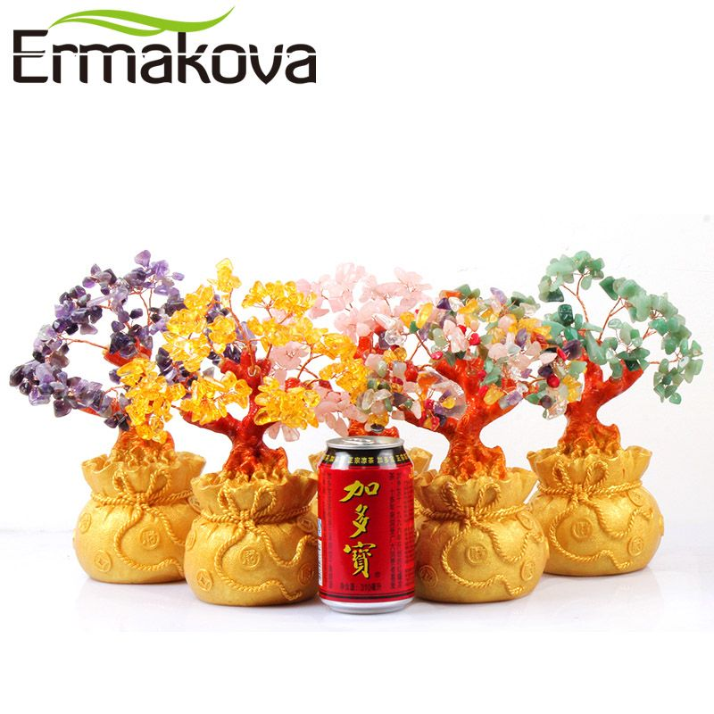 ERMAKOVA 7 Inch <font><b>Tall</b></font> Crystal Lucky Money Tree Figurine Feng Shui for Wealth and Luck Home Office Decor Birthday Gift