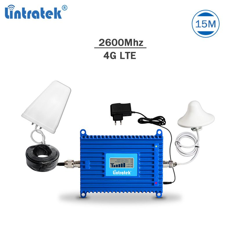 Lintratek 4G signal repeater LTE 2600Mhz cellphone signal booster 4G 2600 amplifier AGC LTE mobile repeater 70dBi full kit #6.2