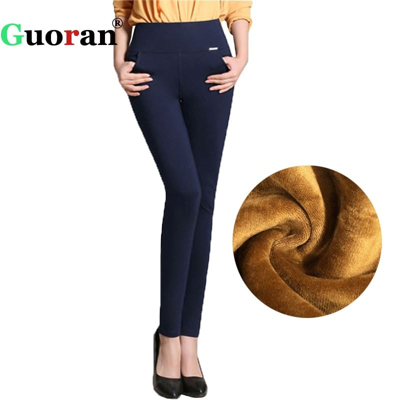 2018 Winter pants women Office Thick Warm Fleece High <font><b>Waist</b></font> pencil pants Stretch black White trousers Plus Size 4XL Leggings