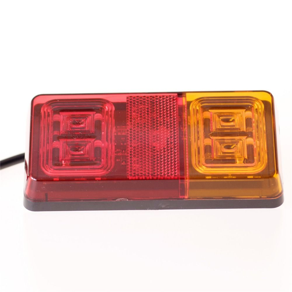2pcs 16 Led Double Color Trailer Tail Lights Indicator Turn Signal Light Car Van Lamp E-Mark certification 9-32V