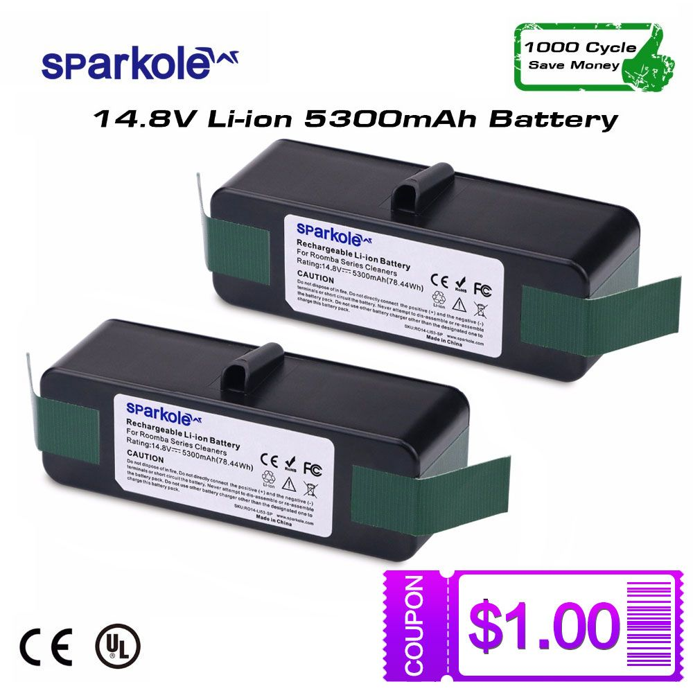 Sparkole 2 pack 5300mAh 14.8V Lithium Rechargeable Battery for iRobot Roomba 550 560 620 650 760 770 780 870 880 500 600 700 800